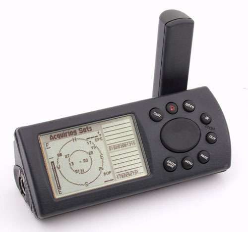 black gps unit with antenna, display, and control buttons